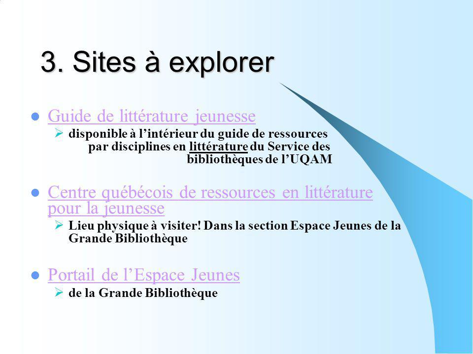 3. Sites à explorer Guide de littérature jeunesse disponible à lintérieur du guide de ressources par disciplines en littérature du Service des bibliot