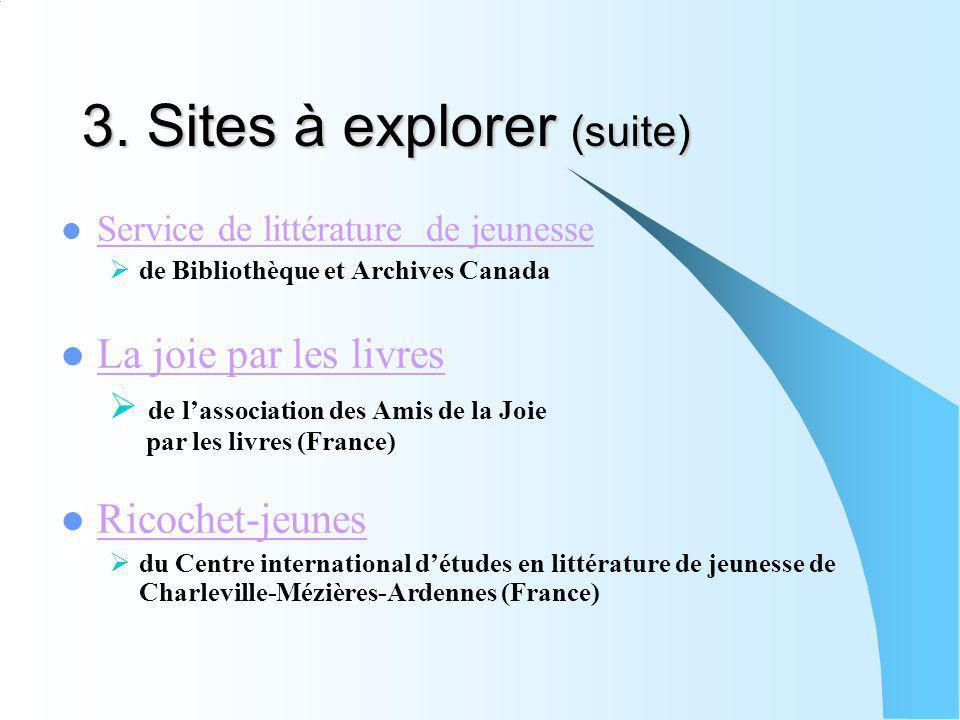 3. Sites à explorer (suite) Service de littérature de jeunesse de Bibliothèque et Archives Canada La joie par les livres de lassociation des Amis de l