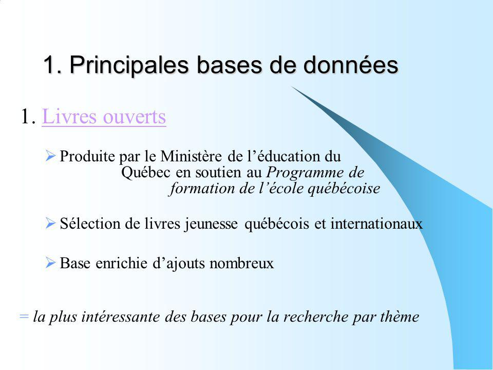 1. Principales bases de données 1. Livres ouvertsLivres ouverts Produite par le Ministère de léducation du Québec en soutien au Programme de formation