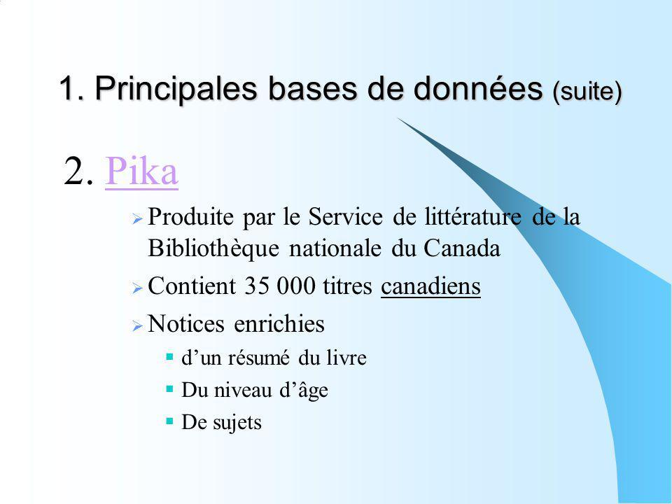 1. Principales bases de données (suite) 2. PikaPika Produite par le Service de littérature de la Bibliothèque nationale du Canada Contient 35 000 titr