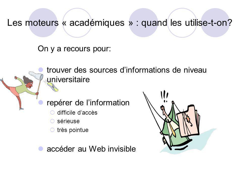 Les moteurs « académiques » : quand les utilise-t-on? On y a recours pour: trouver des sources dinformations de niveau universitaire repérer de linfor