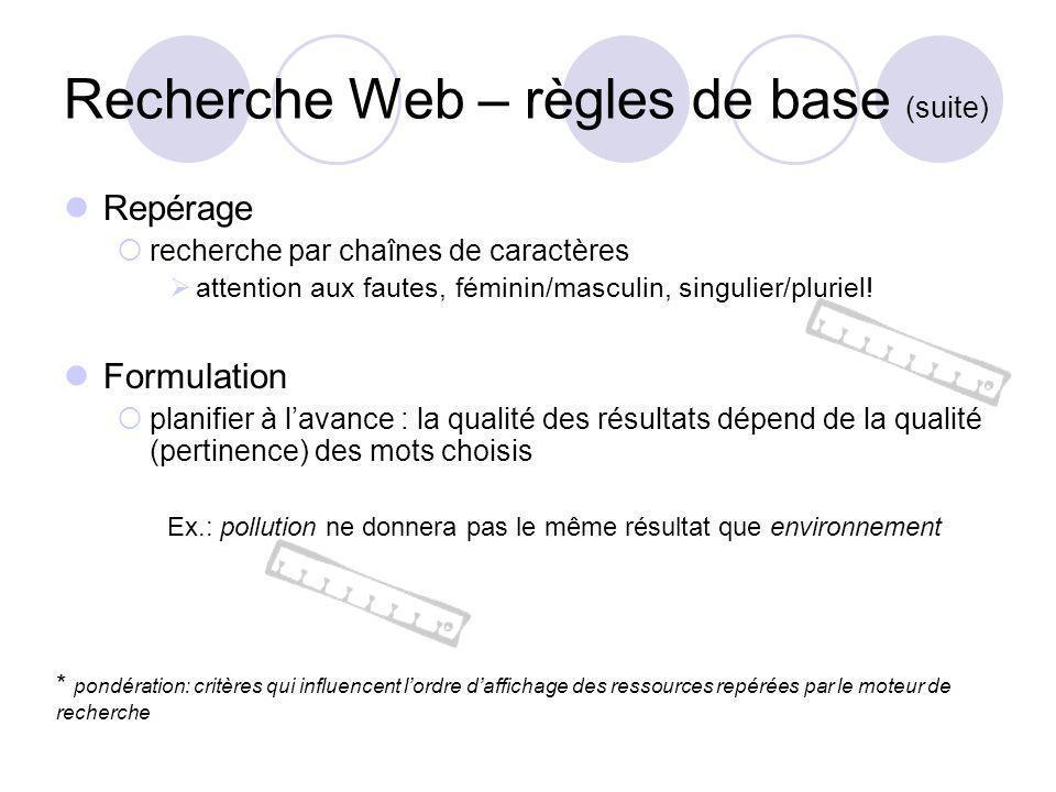 Recherche Web – règles de base (suite) Repérage recherche par chaînes de caractères attention aux fautes, féminin/masculin, singulier/pluriel.