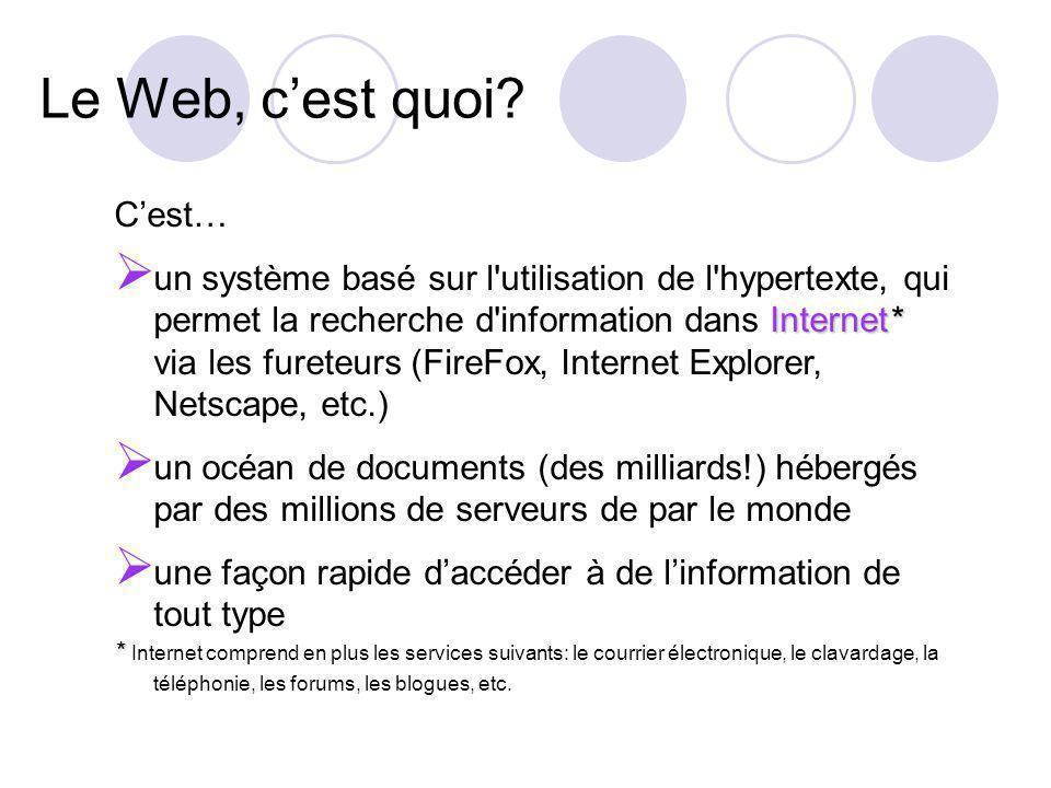 Le Web, cest quoi? Cest… Internet* un système basé sur l'utilisation de l'hypertexte, qui permet la recherche d'information dans Internet* via les fur