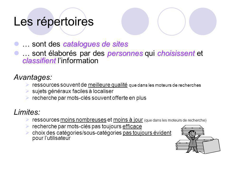 Les répertoires catalogues de sites … sont des catalogues de sites personneschoisissent classifient … sont élaborés par des personnes qui choisissent