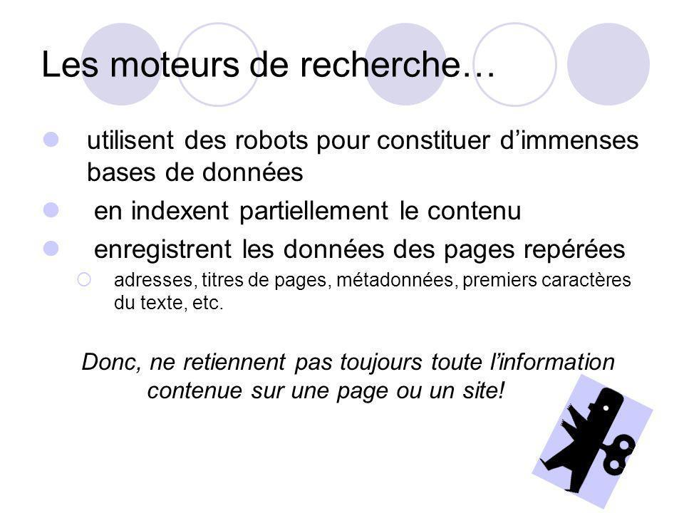 Les moteurs de recherche… utilisent des robots pour constituer dimmenses bases de données en indexent partiellement le contenu enregistrent les données des pages repérées adresses, titres de pages, métadonnées, premiers caractères du texte, etc.