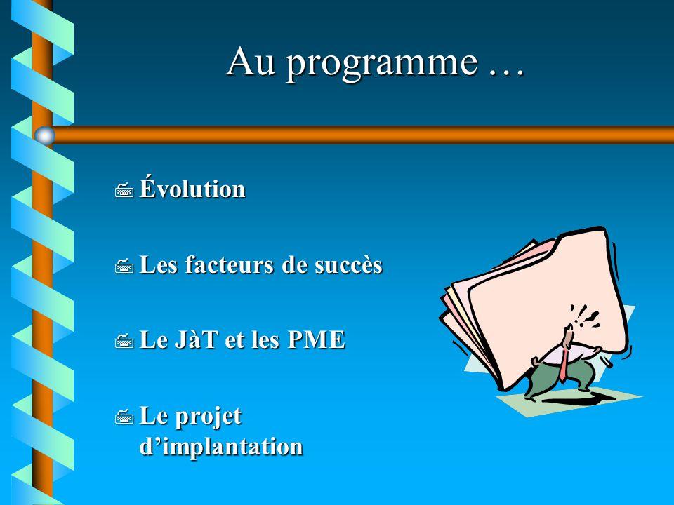 Les facteurs de succès organisationnels 7 Engagement envers le JàT 7 Implantation graduelle 7 Recherche et développement 7 Relations syndicales 7 Réévaluation des tâches 7 Formation 7 Contrôle des coûts