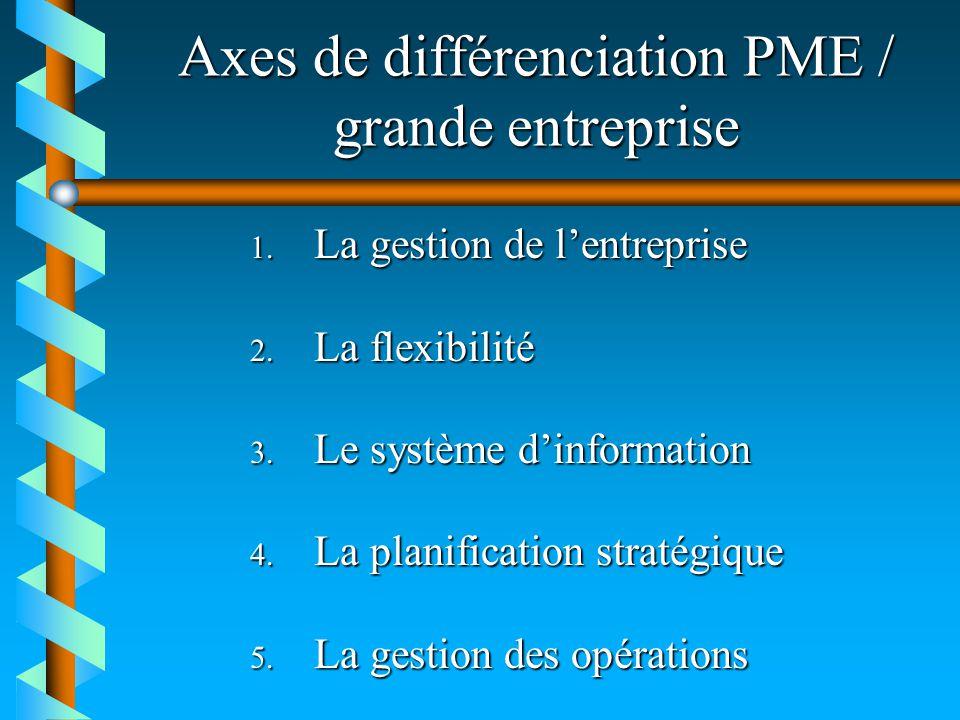Axes de différenciation PME / grande entreprise 1. La gestion de lentreprise 2. La flexibilité 3. Le système dinformation 4. La planification stratégi