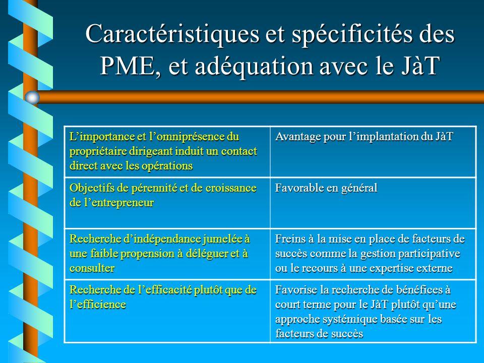 Caractéristiques et spécificités des PME, et adéquation avec le JàT Limportance et lomniprésence du propriétaire dirigeant induit un contact direct av