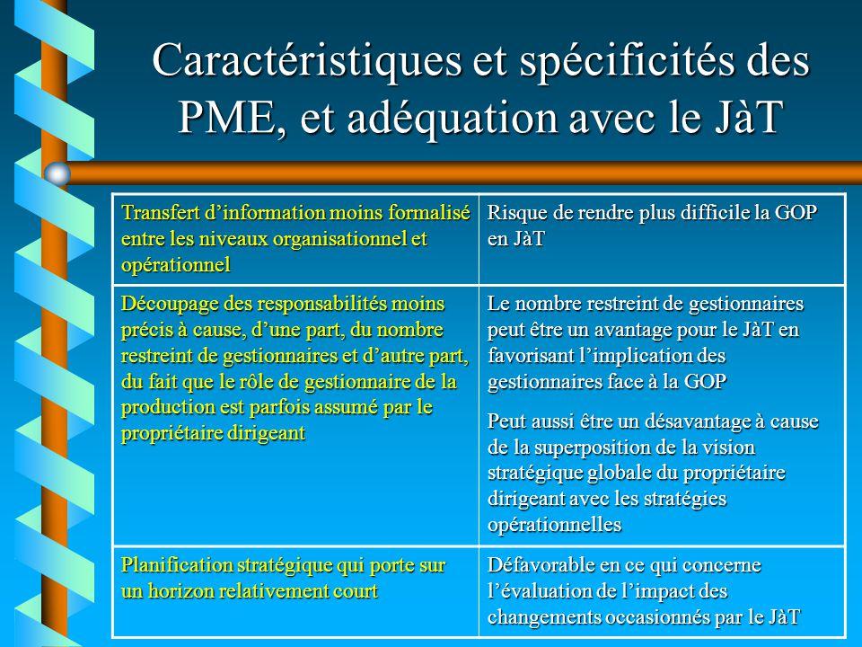 Caractéristiques et spécificités des PME, et adéquation avec le JàT Transfert dinformation moins formalisé entre les niveaux organisationnel et opérat