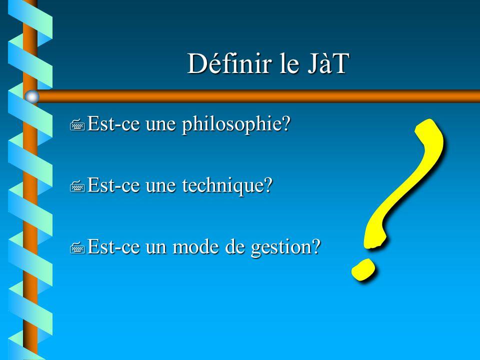Définir le JàT 7 Est-ce une philosophie? 7 Est-ce une technique? 7 Est-ce un mode de gestion? ?