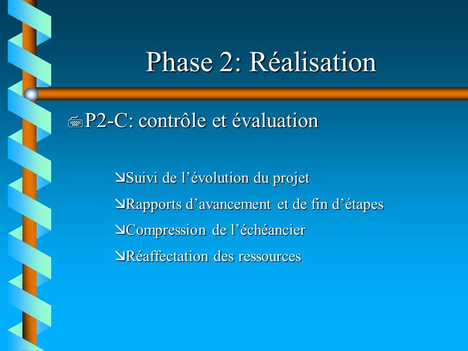 Phase 2: Réalisation 7 P2-C: contrôle et évaluation æSuivi de lévolution du projet æRapports davancement et de fin détapes æCompression de léchéancier