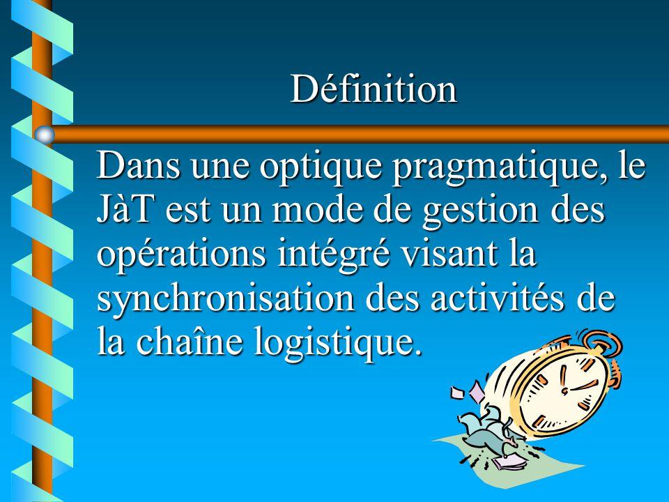 Définition Dans une optique pragmatique, le JàT est un mode de gestion des opérations intégré visant la synchronisation des activités de la chaîne log