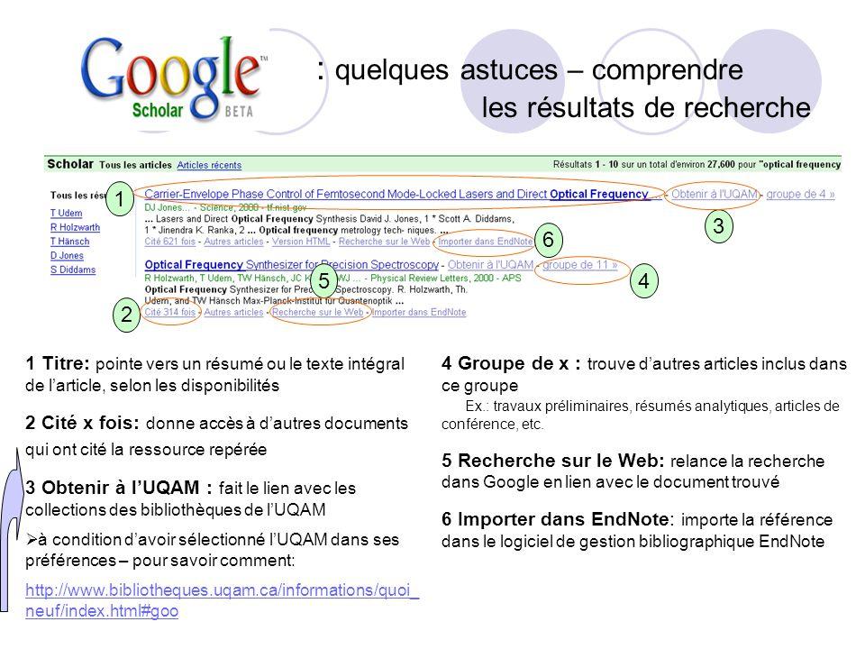 : quelques astuces – comprendre les résultats de recherche 1 Titre: pointe vers un résumé ou le texte intégral de larticle, selon les disponibilités 2
