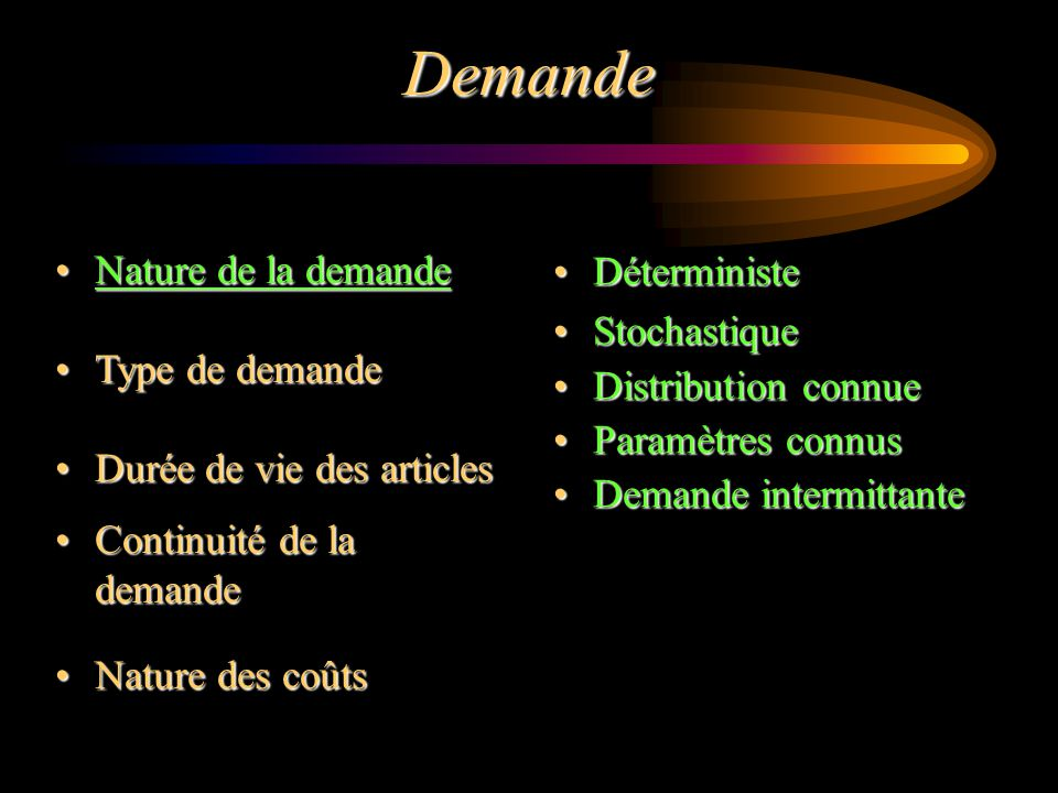 Nature de la demandeNature de la demande Type de demandeType de demande Durée de vie des articlesDurée de vie des articles Continuité de la demandeCon
