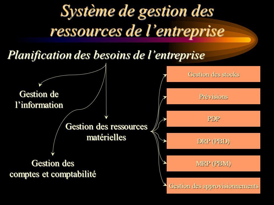 Système de gestion des ressources de lentreprise Planification des besoins de lentreprise Gestion des stocks DRP (PBD) MRP (PBM) Gestion des approvisi