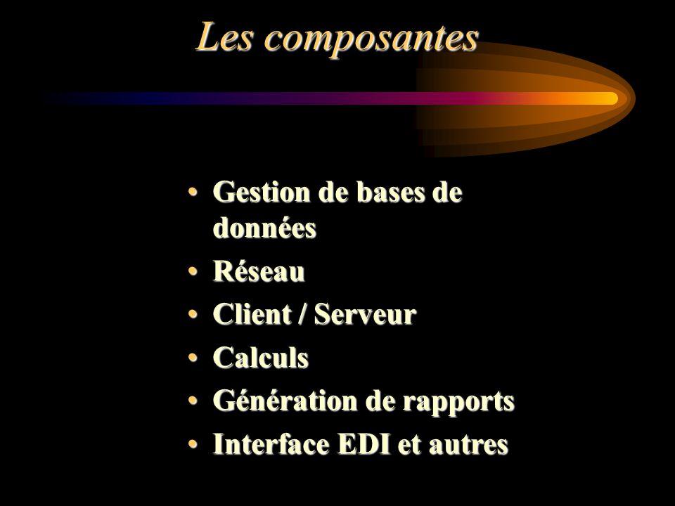 Les composantes Gestion de bases de donnéesGestion de bases de données RéseauRéseau Client / ServeurClient / Serveur CalculsCalculs Génération de rapp