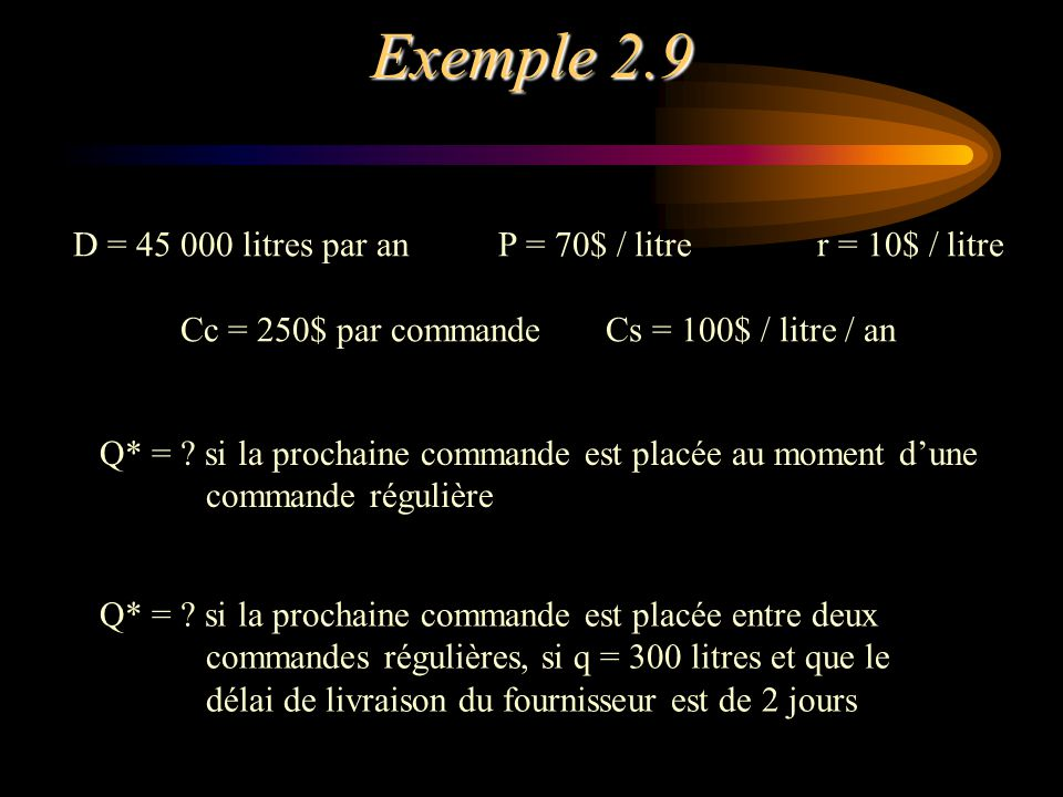 Exemple 2.9 D = 45 000 litres par anP = 70$ / litrer = 10$ / litre Cc = 250$ par commandeCs = 100$ / litre / an Q* = ? si la prochaine commande est pl