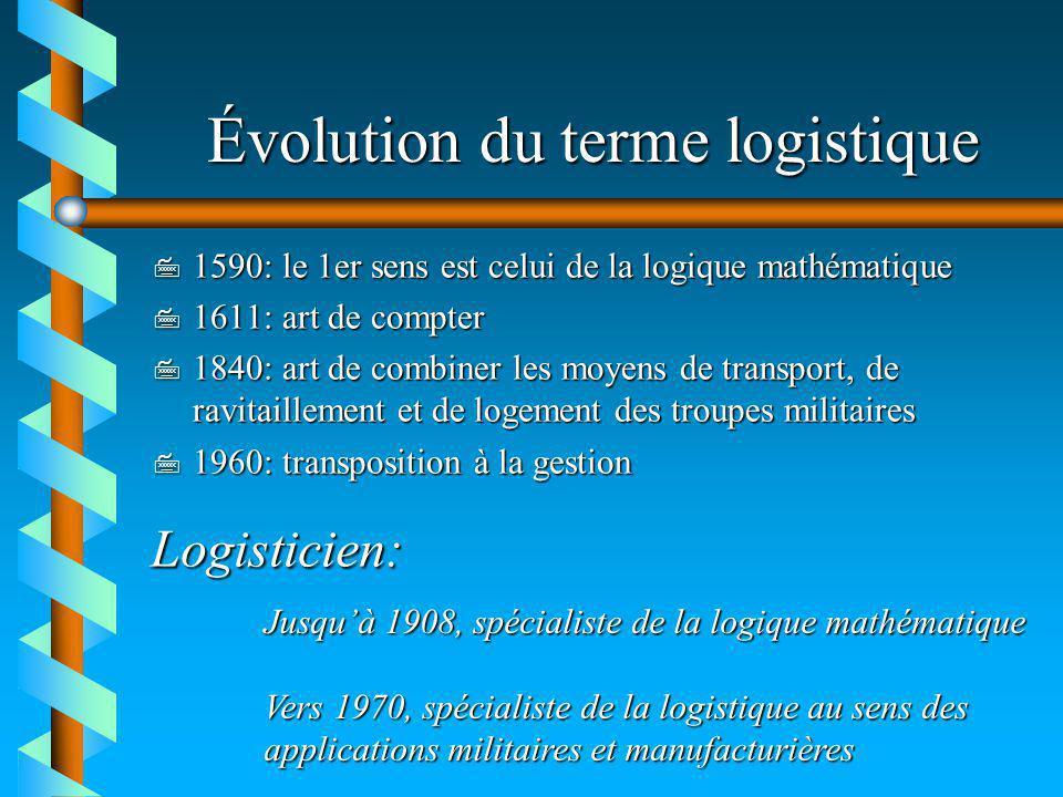 Évolution du terme logistique 7 1590: le 1er sens est celui de la logique mathématique 7 1611: art de compter 7 1840: art de combiner les moyens de tr