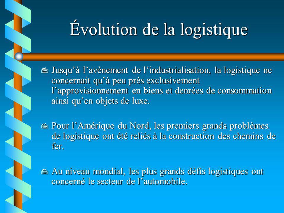 Évolution de la logistique 7 Jusquà lavènement de lindustrialisation, la logistique ne concernait quà peu près exclusivement lapprovisionnement en bie