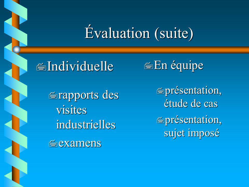 Évaluation (suite) 7 Individuelle 7 rapports des visites industrielles 7 examens 7 En équipe 7 présentation, étude de cas 7 présentation, sujet imposé