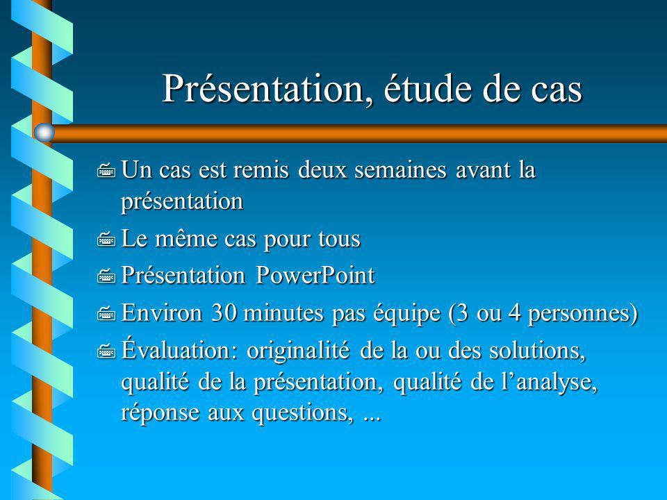 Présentation, étude de cas 7 Un cas est remis deux semaines avant la présentation 7 Le même cas pour tous 7 Présentation PowerPoint 7 Environ 30 minut