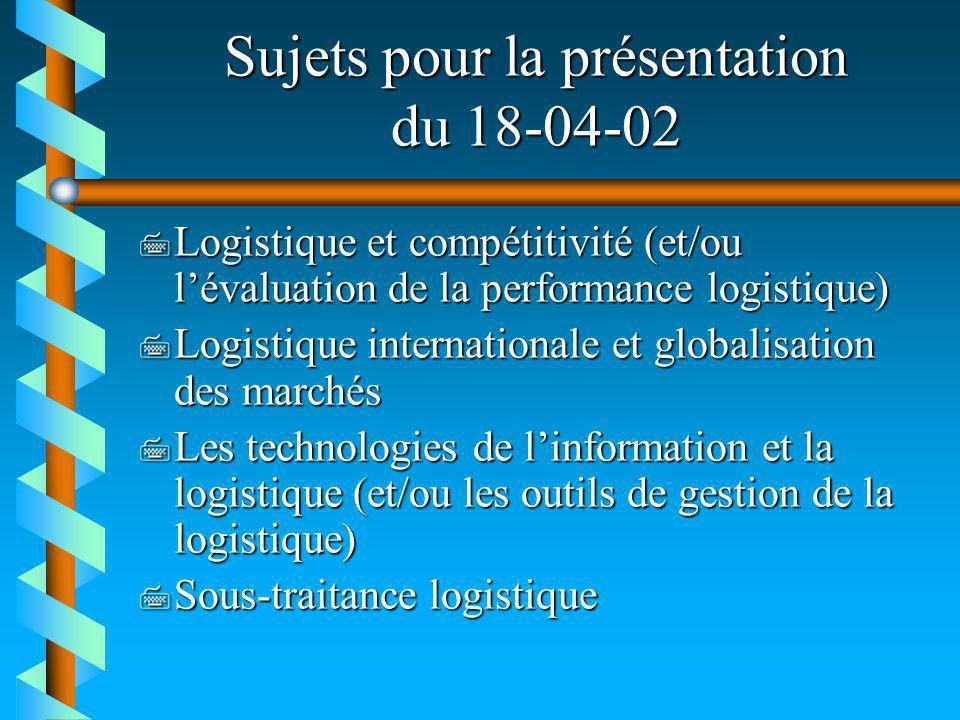 Sujets pour la présentation du 18-04-02 7 Logistique et compétitivité (et/ou lévaluation de la performance logistique) 7 Logistique internationale et