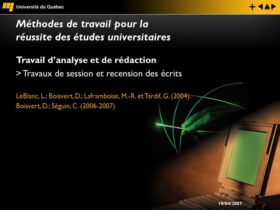 Travail danalyse et de rédaction > Travaux de session et recension des écrits LeBlanc, L.; Boisvert, D.; Laframboise, M.-R.