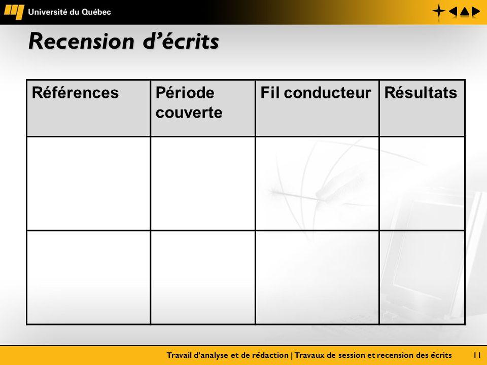 Recension décrits Travail danalyse et de rédaction | Travaux de session et recension des écrits11 RéférencesPériode couverte Fil conducteurRésultats