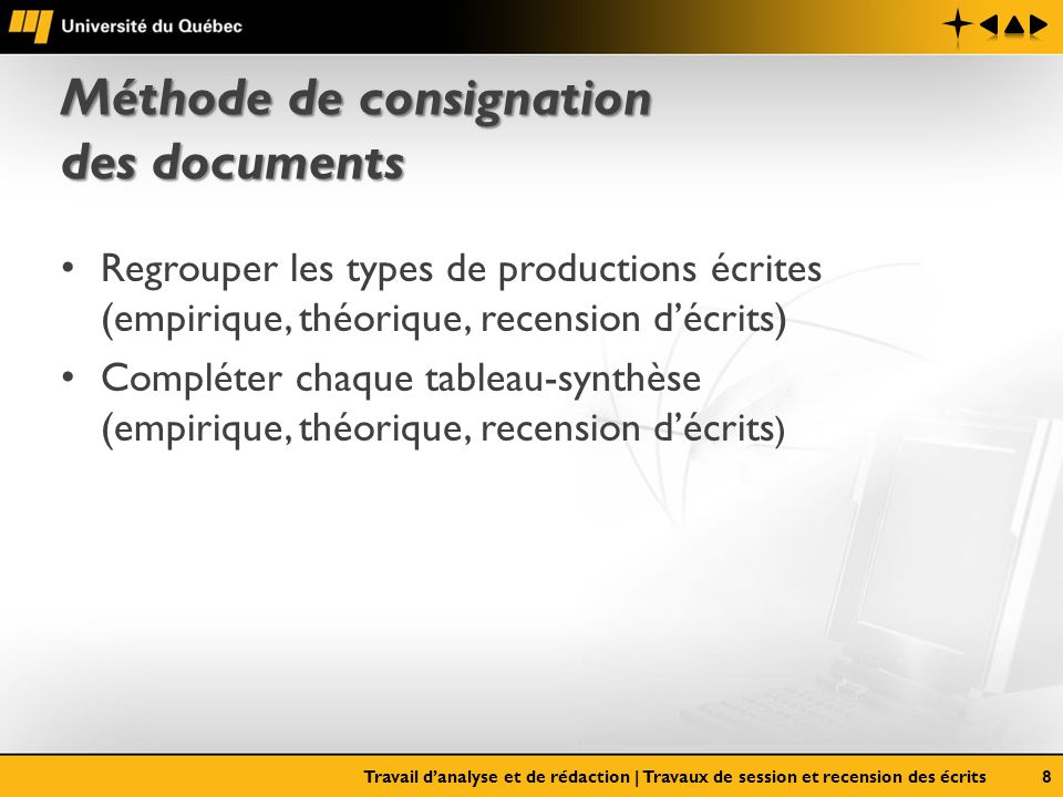 Méthode de consignation des documents Regrouper les types de productions écrites (empirique, théorique, recension décrits) Compléter chaque tableau-sy