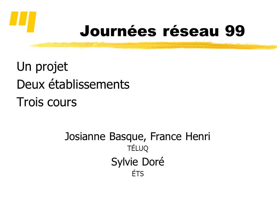 Journées réseau 99 Un projet Deux établissements Trois cours Josianne Basque, France Henri TÉLUQ Sylvie Doré ÉTS