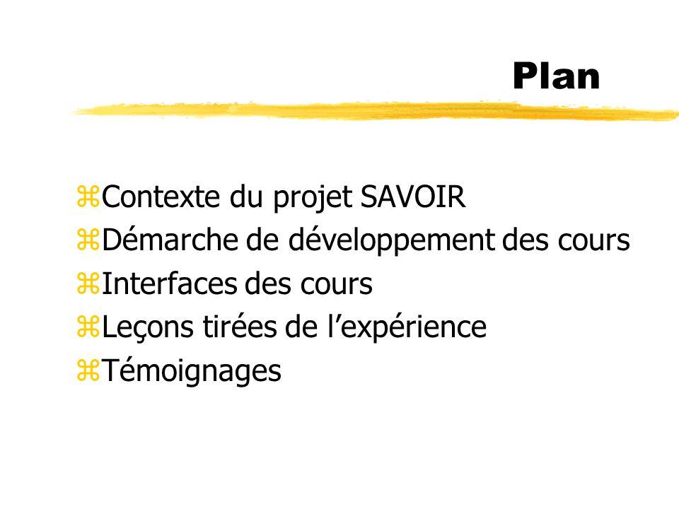 Plan zContexte du projet SAVOIR zDémarche de développement des cours zInterfaces des cours zLeçons tirées de lexpérience zTémoignages