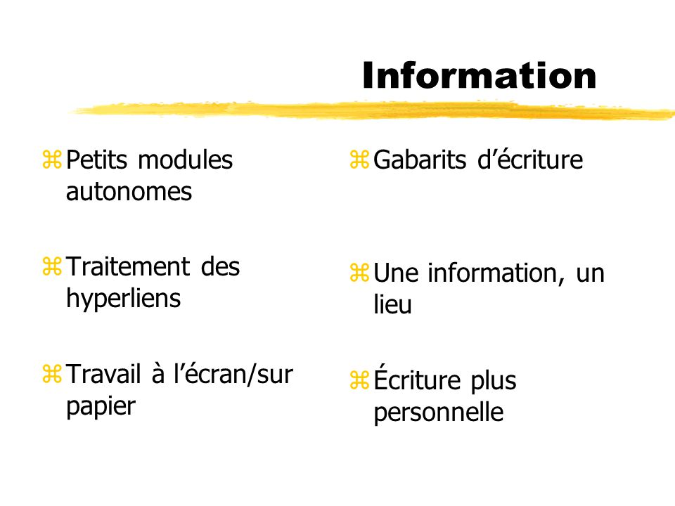 Information zPetits modules autonomes zTraitement des hyperliens zTravail à lécran/sur papier z Gabarits décriture z Une information, un lieu z Écritu