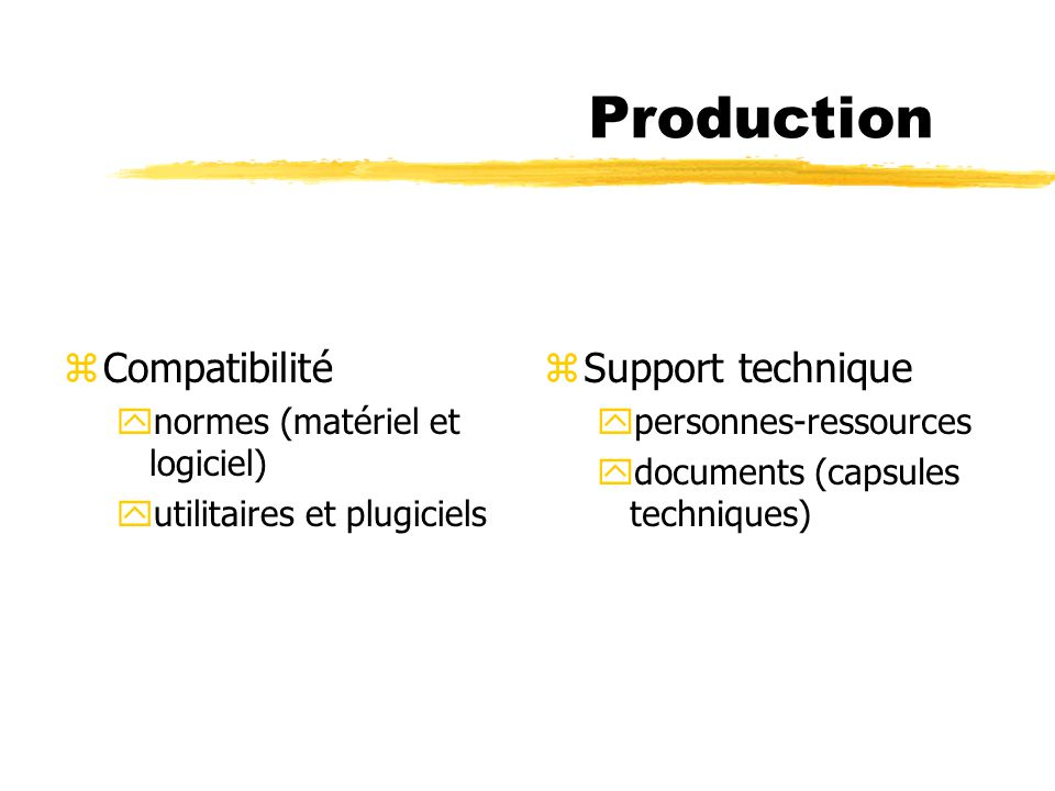 Production zCompatibilité ynormes (matériel et logiciel) yutilitaires et plugiciels z Support technique ypersonnes-ressources ydocuments (capsules tec