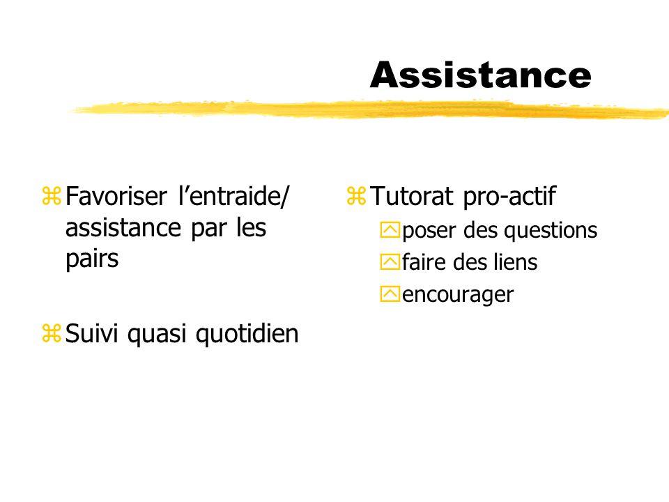 Assistance zFavoriser lentraide/ assistance par les pairs zSuivi quasi quotidien z Tutorat pro-actif yposer des questions yfaire des liens yencourager