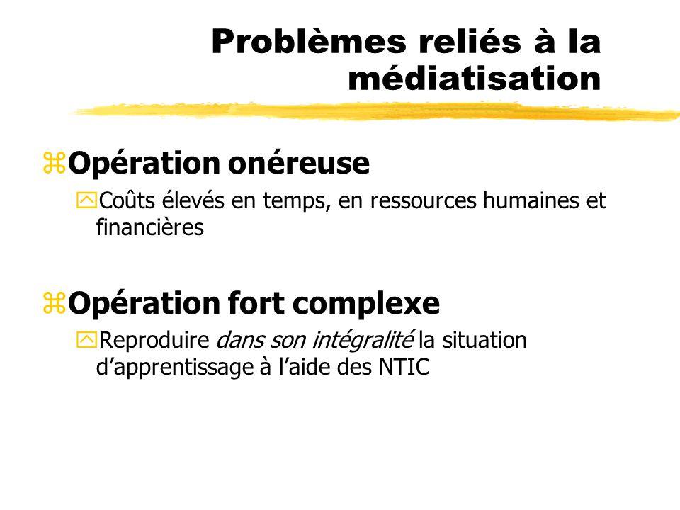 Problèmes reliés à la médiatisation zOpération onéreuse yCoûts élevés en temps, en ressources humaines et financières zOpération fort complexe yReprod
