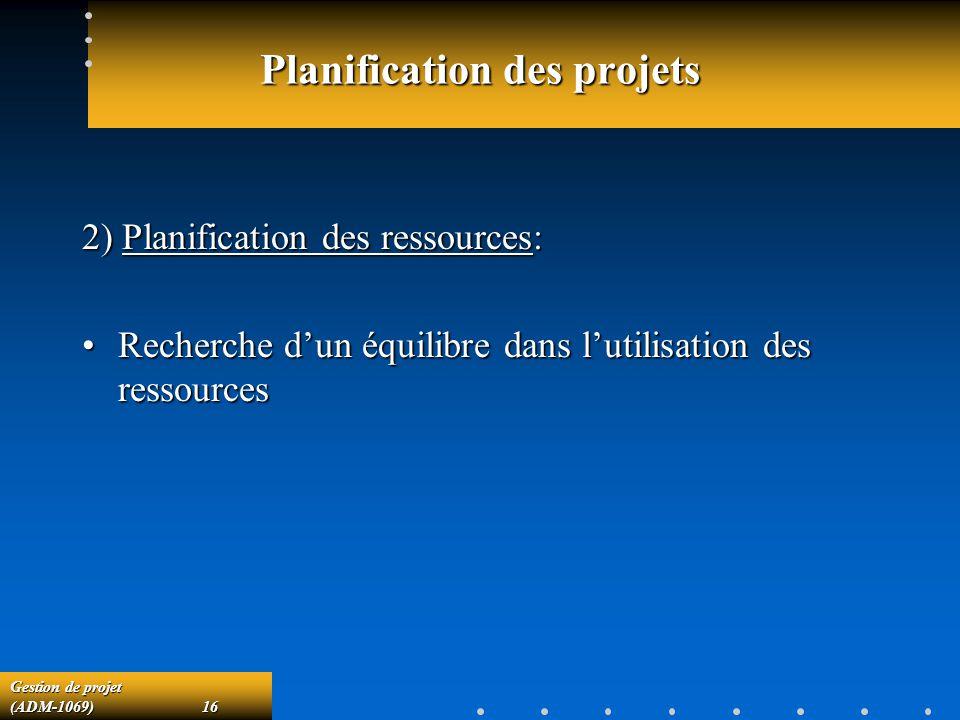 Gestion de projet (ADM-1069)16 Planification des projets 2) Planification des ressources: Recherche dun équilibre dans lutilisation des ressourcesRech