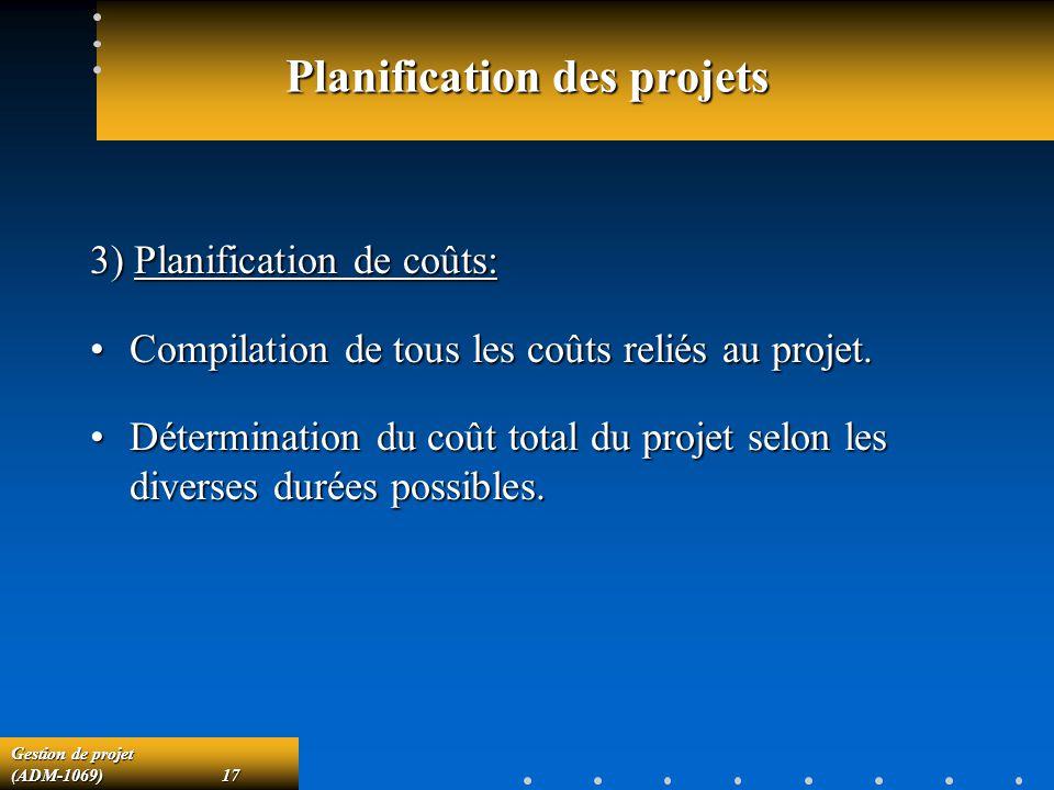Gestion de projet (ADM-1069)17 Planification des projets 3) Planification de coûts: Compilation de tous les coûts reliés au projet.Compilation de tous les coûts reliés au projet.
