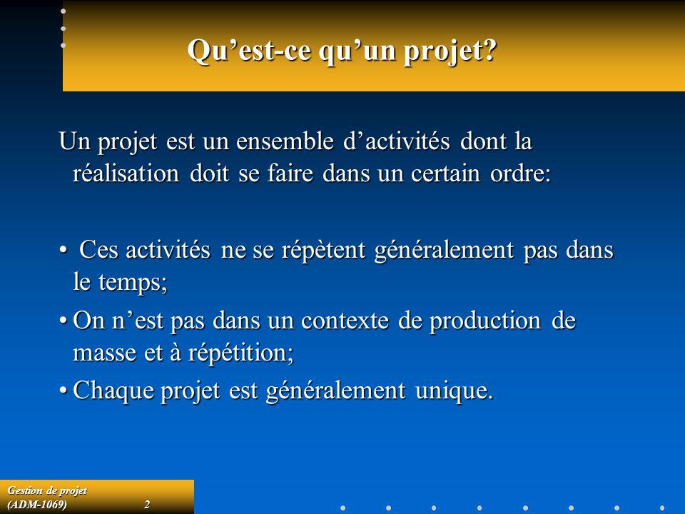 Gestion de projet (ADM-1069)2 Quest-ce quun projet? Un projet est un ensemble dactivités dont la réalisation doit se faire dans un certain ordre: Ces