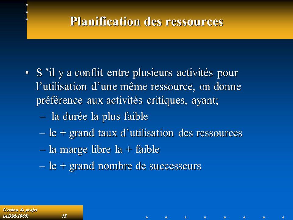 Gestion de projet (ADM-1069)25 Planification des ressources S il y a conflit entre plusieurs activités pour lutilisation dune même ressource, on donne