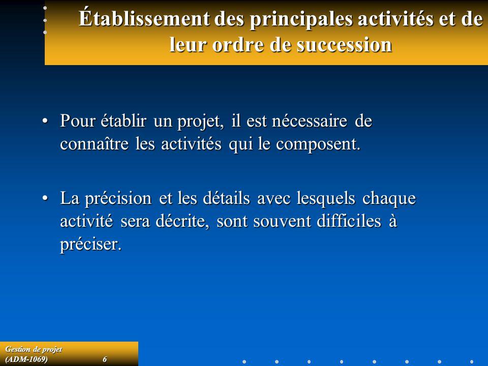 Gestion de projet (ADM-1069)6 Établissement des principales activités et de leur ordre de succession Pour établir un projet, il est nécessaire de connaître les activités qui le composent.Pour établir un projet, il est nécessaire de connaître les activités qui le composent.