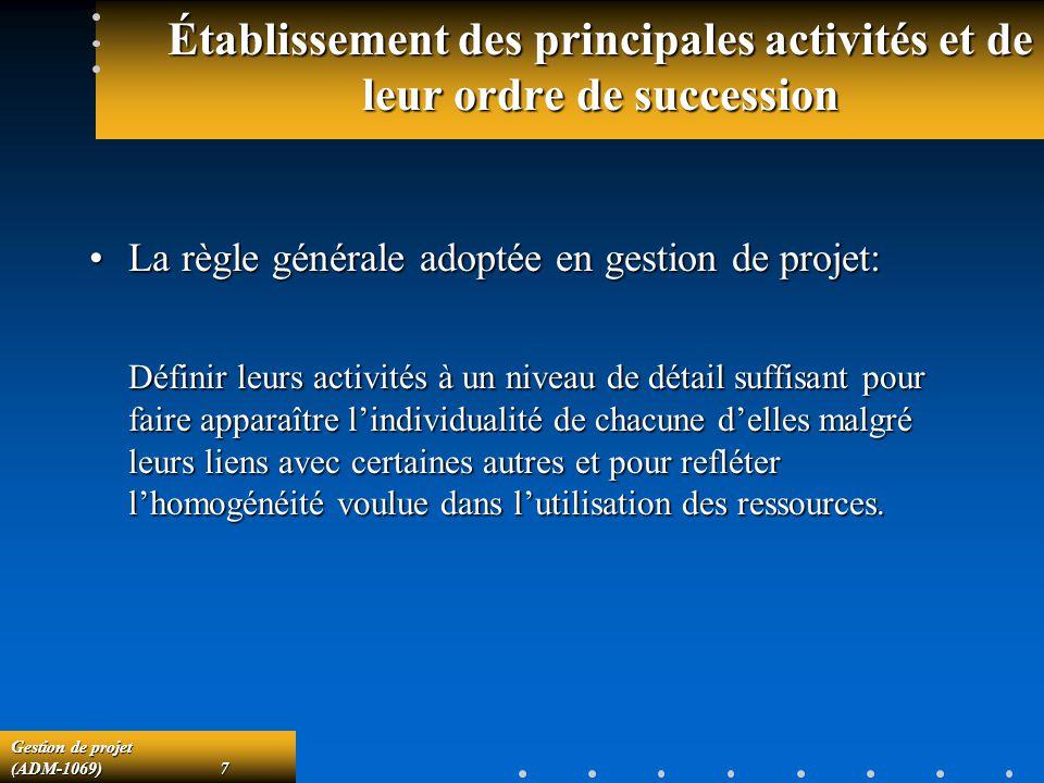 Gestion de projet (ADM-1069)7 Établissement des principales activités et de leur ordre de succession La règle générale adoptée en gestion de projet:La