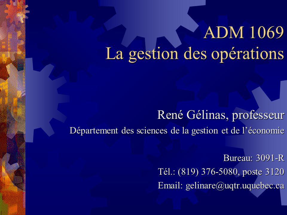 ADM 1069 La gestion des opérations René Gélinas, professeur Département des sciences de la gestion et de léconomie Bureau: 3091-R Tél.: (819) 376-5080, poste 3120 Email: gelinare@uqtr.uquebec.ca