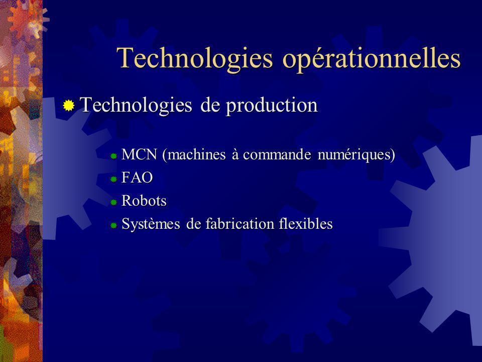 Technologies opérationnelles Technologies de production Technologies de production MCN (machines à commande numériques) MCN (machines à commande numériques) FAO FAO Robots Robots Systèmes de fabrication flexibles Systèmes de fabrication flexibles