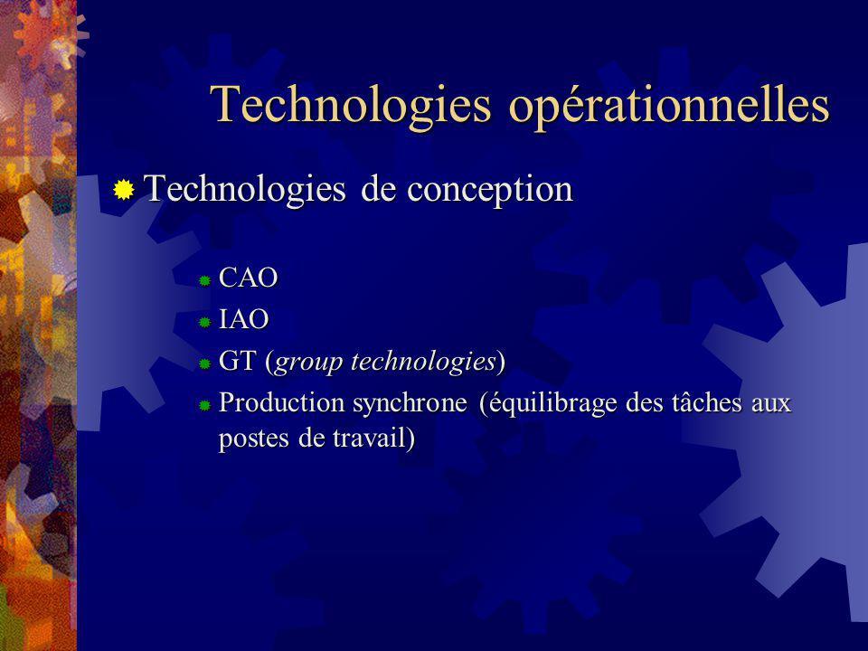 Technologies opérationnelles Technologies de conception Technologies de conception CAO CAO IAO IAO GT (group technologies) GT (group technologies) Production synchrone (équilibrage des tâches aux postes de travail) Production synchrone (équilibrage des tâches aux postes de travail)