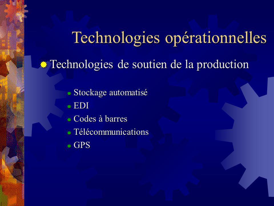 Technologies opérationnelles Technologies de soutien de la production Technologies de soutien de la production Stockage automatisé Stockage automatisé EDI EDI Codes à barres Codes à barres Télécommunications Télécommunications GPS GPS