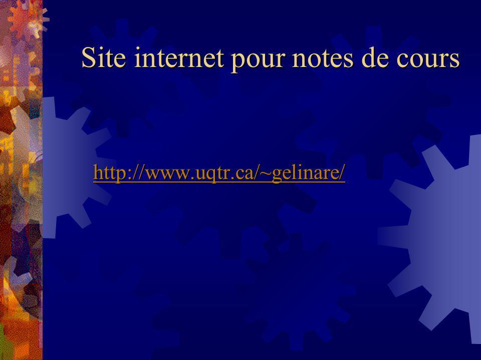 Site internet pour notes de cours http://www.uqtr.ca/~gelinare/