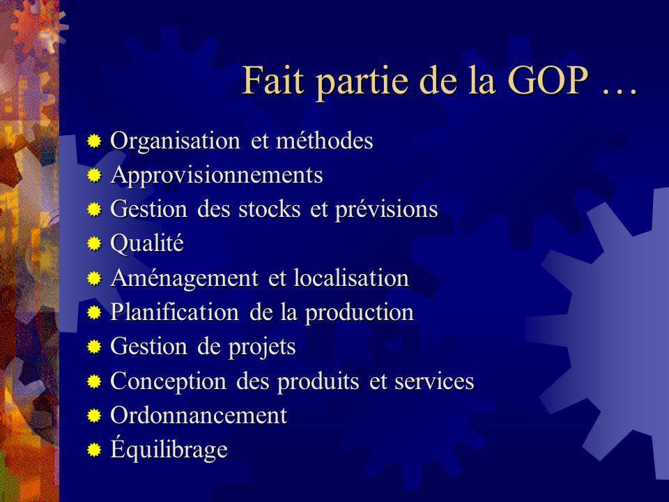 Aspects de la GOP … Quantitatif vs qualitatif Quantitatif vs qualitatif Analytique vs systémique Analytique vs systémique Ex.
