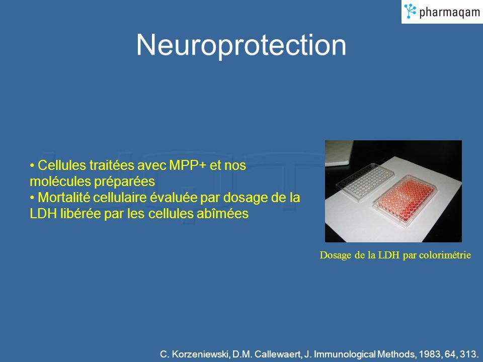 Neuroprotection Dosage de la LDH par colorimétrie Cellules traitées avec MPP+ et nos molécules préparées Mortalité cellulaire évaluée par dosage de la LDH libérée par les cellules abîmées C.