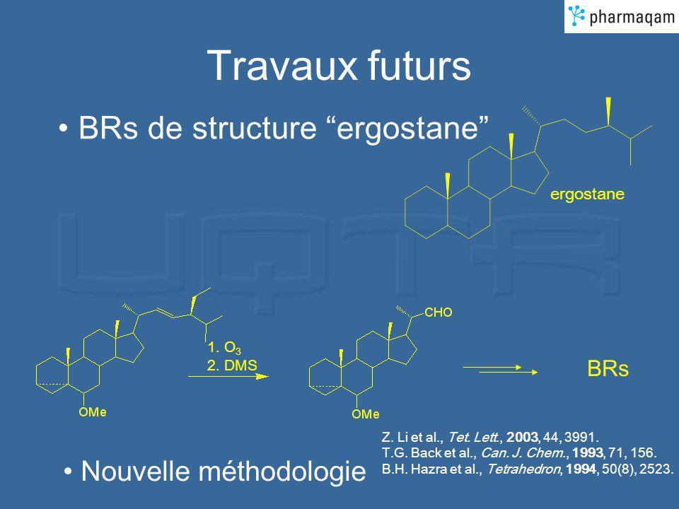 Travaux futurs BRs de structure ergostane 1. O 3 2. DMS BRs Nouvelle méthodologie ergostane Z. Li et al., Tet. Lett., 2003, 44, 3991. T.G. Back et al.