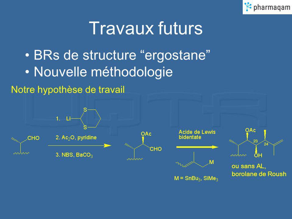 Travaux futurs BRs de structure ergostane Nouvelle méthodologie 23 24 ou sans AL, borolane de Roush Notre hypothèse de travail